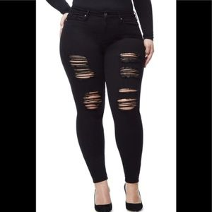 Good Legs Black Ripped Skinny Jeans GOOD AMERICAN